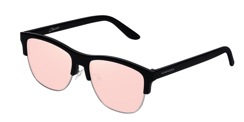 Hawkers Diamond Black Rose Gold Classic Flat , Gafas de Sol Unisex, Negro/Rosa