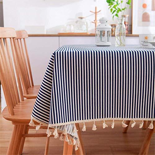 SONGHJ Leinen Baumwolle Quaste Tischdecke Rechteck Rand Tischdecke Gedruckt Staubdicht Tischdecken B 140x200cm -