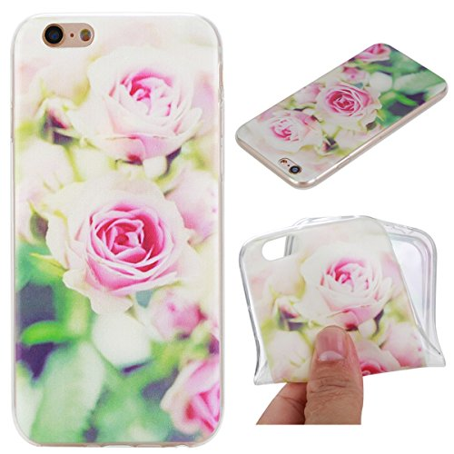 iPhone 6S Plus Hülle, iPhone 6 Plus Hülle, Gift_Source [ Wassermelone ] Hülle Case Transparent Weiche Silikon Schutzhülle Handyhülle Schutzhülle Durchsichtig TPU Crystal Clear Case Backcover Bumper Ca E1-Rose