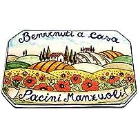 CERAMICHE D'ARTE PARRINI- Künstlerische italienische Keramik, Hausnummer 20x13 individuelle Dekoration Landschaft, Fliesen handgemacht in Italien Toscana