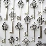Makhry Pack Mixte de 30 Clés Squelettes Vintage en Argent Antique Pack de 30 Clés(Argent Antique)