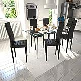 VidaXL-Juego de 6 sillas de comedor línea slim, color negro