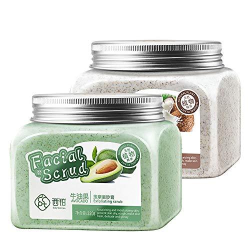 TRENTA Peeling-Körperpeeling mit Cellulite-Entferner für Körperfrieden und Glühen-320g / 2er-Pack (Kokosmilch & Avocado) - Make-up Gesicht Zu Glühen