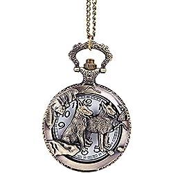 PSFY Mens Retro Wolf Hollow Quartz Pocket Watch Necklace Pendant Chain Men Women Gift