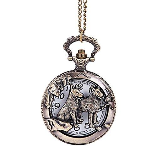 psfy Herren Retro Wolf Hohl Quarz Taschenuhr Halskette Anhänger Kette Herren Frauen Geschenk Herren Bulova Gold Diamant Uhr