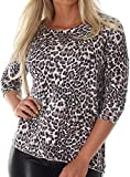 Voyelles Damen Sweatshirt Leo-Look Langarmshirt Dünner Pullover Stretch Leopard Longsleeve 3/4 Arm (34-38)