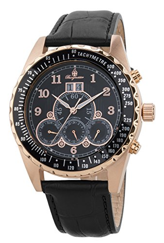 Burgmeister Herren Datum klassisch Automatik Uhr mit Leder Armband BM302a-362