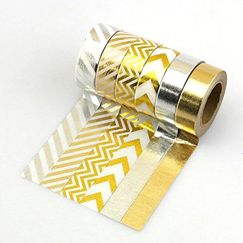 Yuyikes 6er Pack Washi Tape Masking Tape Dekoratives Craft Tape Scrapbooking Klebeband perfekt für Scrapbooking, DIY Basteln und Geschenkverpackungen