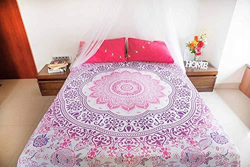 folkulture New Pink Ombre Tagesdecke mit Kissenbezügen, indischen Bohemian Wandteppich für, Picknick Decke oder Hippie Strand Werfen, Hippie-Mandala Betten für Schlafzimmer, Queen Size Boho Spread - Grau-wand-kunst Teal
