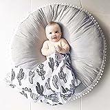 Pueri Baby Spielmatte Runde Teppich Kriechmatte Spielzelte Dekoration fürs Kinderzimmer (Grau)