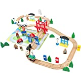 ACOOLTOY Wooden Train Track Set Toy Wooden Classic Railway Flexible Track Car Set