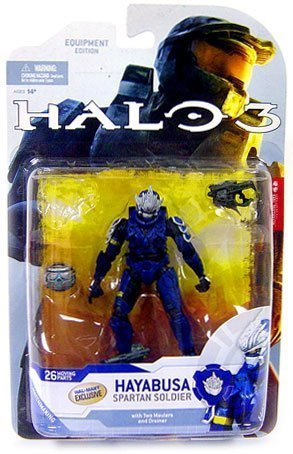 Halo 3 McFarlane Toys Series 4 2009 Wave 1 Exclusive Action Figure BLUE Hayabusa Spartan Soldier by Halo