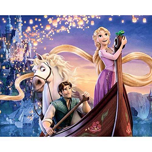 GJYAC Diamantmalerei Vollbohrer Diamant Stickerei Kreuzstich Set Diamant Malerei Prinzessin mit Langen Haaren -