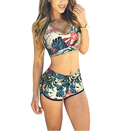Minetom Damen Sexy Bikini-Sets Zweiteilig Vest Tops Shorts Hohe Taille Push-up Strand Schwimmanzug Padded Swimsuits Badeanzug Beachwear Blume DE 36 (Exotische Wasser-designs)