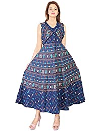 PURE COMFORT Women's Party Wear Maxi Long Cotton Jaipuri Printed Dress, Womens Maxi Long Kurtis, Long Kurtis For...