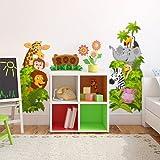 wall art R00316Adesivo da parete per bambini, camera da letto Zoo, 30x 75x 0,1cm, Multicolore