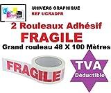 2 Rouleaux Adhésif FRAGILE - 48 X 100 MÈTRES- (40% de plus que les 66 mètres)- rouleau pour emballage, expédition - ruban adhésif de haute qualité idéal pour carton, emballage, expédition et stockage marque UNIVERS GRAPHIQUE référence UGRADFR
