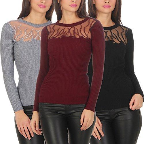 5390 Fashion4Young Damen Feinstrick Pullover Strickpullover Langarm Rundhalsausschnitt Flammen Grau