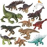 Dinosaurios figuras juguete Sets, REALiS mesa ausseh Extremo, plástico grandes dinosaurios surtidos con libro para niños, paquete con 12