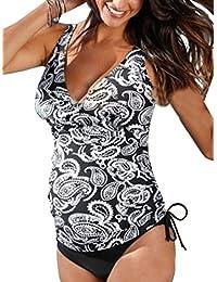 17de697aa2 Summer Mae Women's Maternity Pregnancy Halter Printed Padding Tankini  Swimsuit