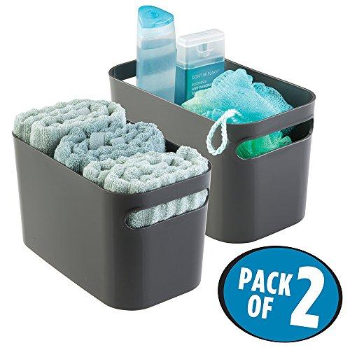 mDesign Caja organizadora para baño – Organizador de baño para cosméticos, champú, loción, perfume etc. – Cestas para baño multiuso para organizar todo tipo de objetos – También toallero – Color: gris
