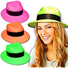 EL CARNAVAL Set de 4 Sombreros de Gangster en Colores Fluor con Franja  Negra (Verde e1f606f8513