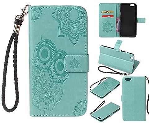 Coque Apple iPhone 6/6S(4.7 Zoll) Étui en Cuir, Ecoway Hibou En Relief Pattern Series PU Case Cover Flip Cover Emplacement de Carte de Portefeuille Pour Apple iPhone 6/6S(4.7 Zoll) - Vert clair