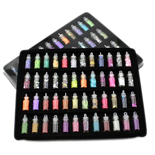 (OYLXQ Nail Art Pigment Glitter Staubpulver Set 48 Farben, 3D Dekor, Strass, Pailletten Salon, DIY Handwerk Designs)
