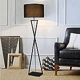 Ywyun Nordic Minimalist Vertikal Tisch / Stehleuchte, Runde Schwarz / Weiß Leinen Schatten, Schmiedeeisen Tripod Gabel / Stehlampe, E27 ( Color : Black-Floor lamp )