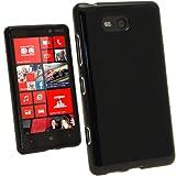 igadgitz Schwarz Glänzend Dauerhafte Kristall Gel Tasche TPU Hülle Schutzhülle Etui für Nokia Lumia 820 Windows Smartphone Handy + Displayschutzfolie