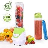 Aigostar Greenberry 30JHU - Standmixer 600 W Smoothiemaker Mini Blender, BPA-frei, 600 ml, Persönlicher Mixer mit 1 kühl Stock, 2 Reisesportflaschen und 2 Deckel, Tritan Material in Lebensmittelqualität,Farbe grün & Weiß . Exklusives Design.