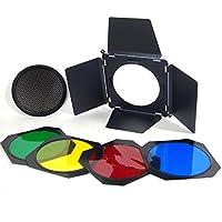Kit 4 Aletas Visera Barn Door DynaSun A112 Laminas con Honeycomb Grid y 4 Gel Set para Flash Estudio