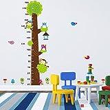ufengke® Petit Arbre et Singes Mignons Hiboux Toise Stickers Muraux, La Chambre Des Enfants Pépinière Autocollants Amovibles