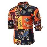 MEIbax Camicetta Top Uomo personalità/T-Shirt Uomo Estate/Camicie Uomo Casual Slim Manica Lunga/Camicia Stampata/Top Uomo Fitness
