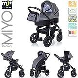 My Junior+® Miyo 3in1 Kombikinderwagen Komplettset bis zum 4.Lebensjahr---3 Years Guarantee---+Autositz (11-Teile-Megaset) Premium Kinderwagen