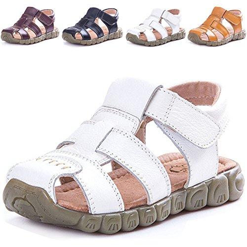 LONSOEN Leather Outdoor Sport Sandals,Fisherman Sandals for Boys(Toddler/Little Kids),White,8 UK Child