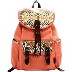Douguyan Mochila para Mujer de lona Bolso de Ocio de Viaje Moda E00137 Naranja