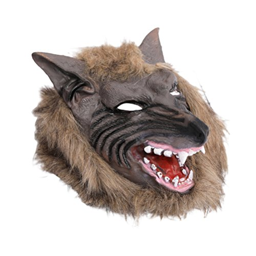 Amosfun Maschera di Halloween Terrore Diavolo Fancy Dress Party Puntelli Copricapo di lupo Costumi di Halloween per uomini e donne 1 Pc (Tan Wolf)