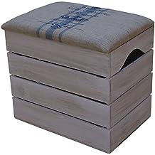 LIZA BAÚL de MADERA (Color Blanco Envejecido), Banco de Almacenamiento, Puff, Taburete Vintage con Asiento Confortable Recubierto de Tela. Mueble para Almacenaje de Zapatos, Juguetes. Pino Nórdico Macizo - 50 x 45 x 36 cm (Lineas Azules)