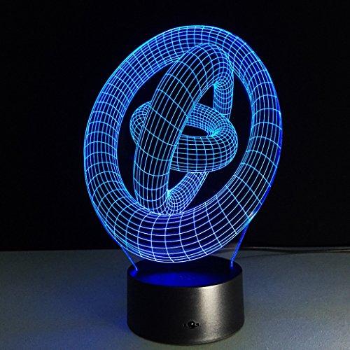 isierung Glow 7 Farbwechsel USB Touch-Taste Und Intelligente Fernbedienung Schreibtisch Tisch Beleuchtung Schönes Geschenk Home Office Dekorationen Spielzeug (3 ringe) ()