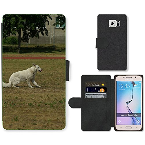 hello-mobile PU LEDER LEATHER FLIP CASE COVER HÜLLE ETUI TASCHE SCHALE // M00137643 Weisser Schweizer Schäferhund Gehorsam // Samsung Galaxy S6 (Not Fits S6 EDGE)