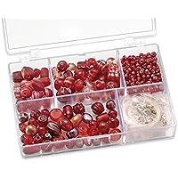 Gütermann / KnorrPrandell 6049150 - Caja con perlas de cristal para bisutería (tamaños surtidos), color rojo [importado de Alemania]
