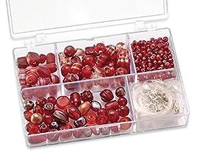 Gütermann / KnorrPrandell 6049150 - Caja con Perlas de Cristal para bisutería (tamaños Surtidos), Color Rojo Importado de Alemania