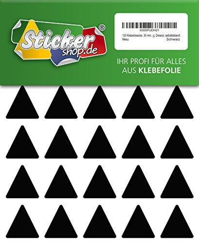120 Aufkleber, Dreieck, Sticker, 30 mm, schwarz, PVC, Folie, Vinyl, glänzend, Klebemarkierung, selbstklebend