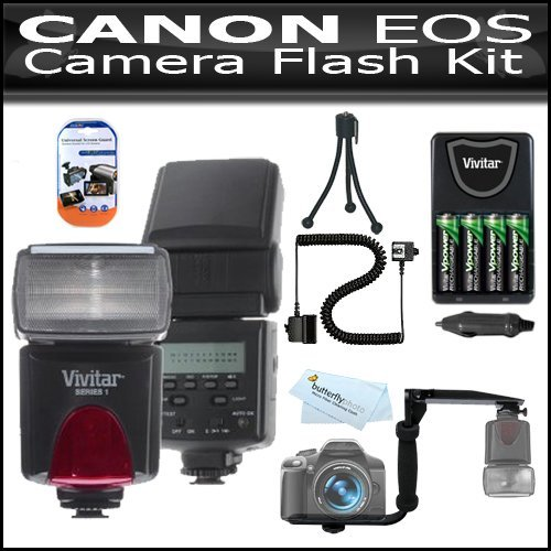 Flash Kit For Canon EOS 60D 18 MP CMOS Digital SLR Camera Includes Vivitar DF-293 TTL LCD Bounce Zoom Swivel DSLR AF Flash w/LCD Display Includes Reflecting Plate And Wide Angle Flash Diffuser + E-TTL / E-TTL II Off-Camera Flash Sync Cord + Flash Bracket