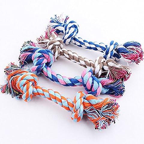 tysum (TM) nuovo cucciolo di cane Pet Toy Cotone Intrecciato Bone Corda Tromba doppio cotone nodo corda masticare nodo cane giocattolo Hot vendita