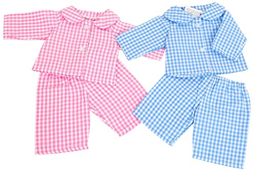 eyfs-resources-twin-pink-and-blue-gingham-pyjamas-small-size-to-fit-14-18ins-35-45cmdolls-and-bears-