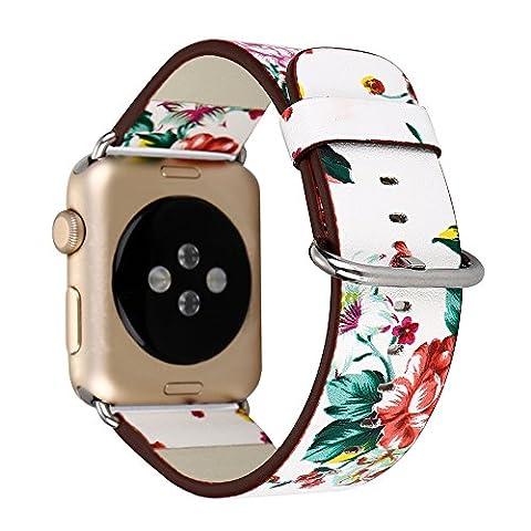 Ersatzarmband für Apple Watch Strap Armband 38mm Series 1 Series 2, Aohro PU Lederarmband Uhrenarmband Sport Wrist Band Replacement