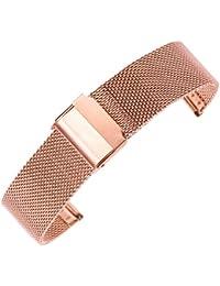 20mm banda de reloj de acero inoxidable de malla rosa en reemplazo de la correa de malla de cota de malla de oro para el reloj inteligente deporte