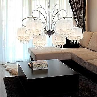 OOFAY LIGHT® Lustre simple et élégante en cristal à 6 médailles /Lustre de mode en cristal pour salle à manger/ Lustre moderne en cristal pour salon